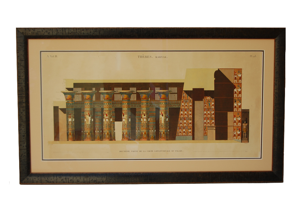 A double mount with contrasting colours surrounding an antique Egyptian print
